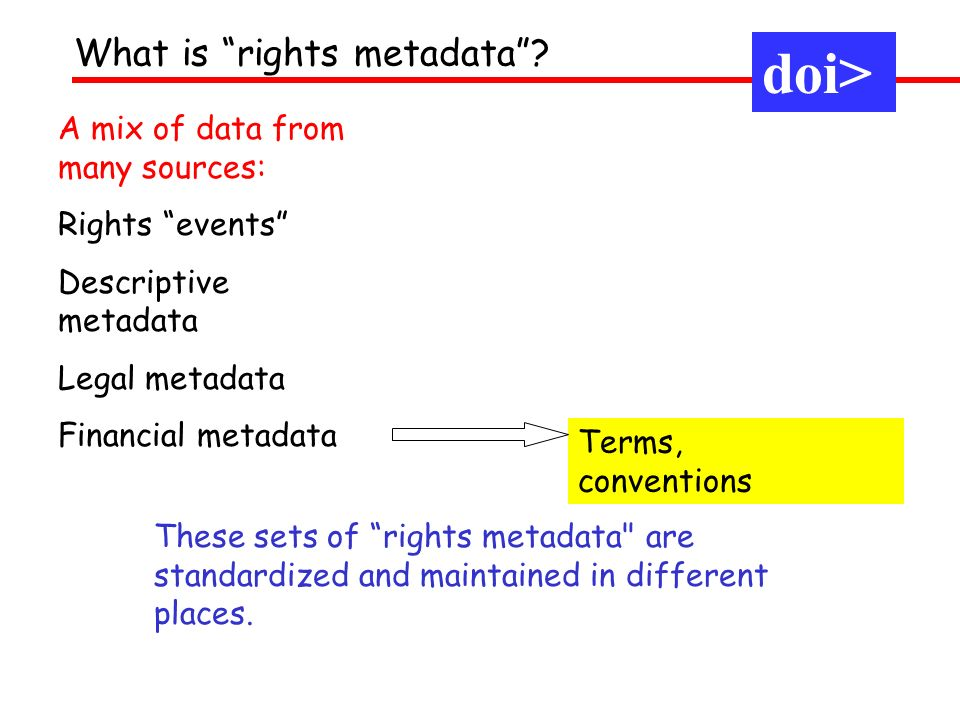 doi> What is rights metadata A mix of data from many sources: