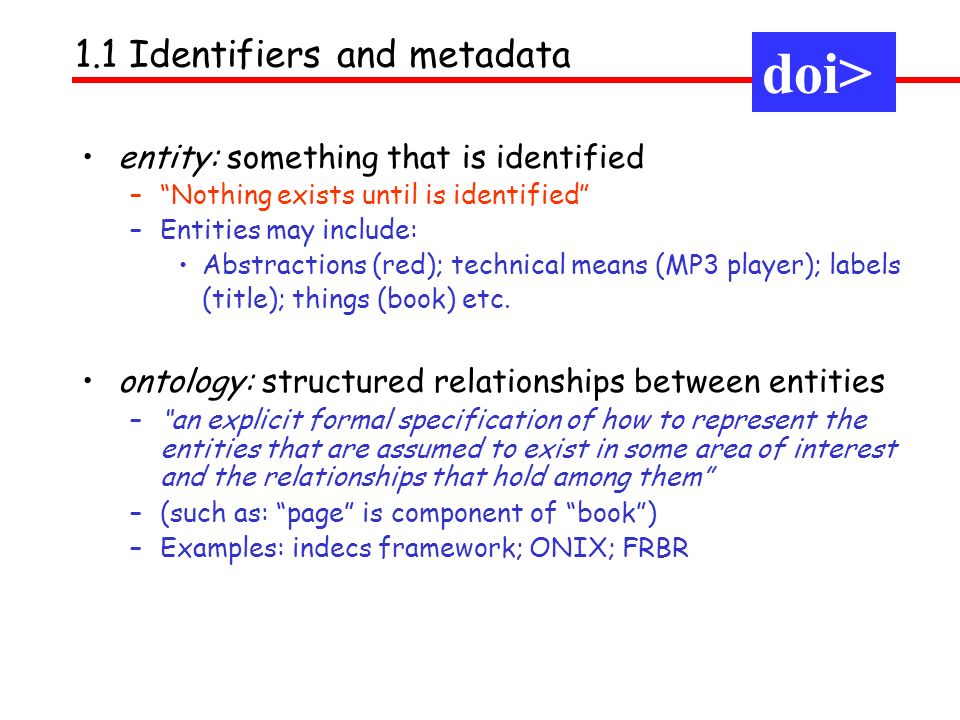 doi> 1.1 Identifiers and metadata