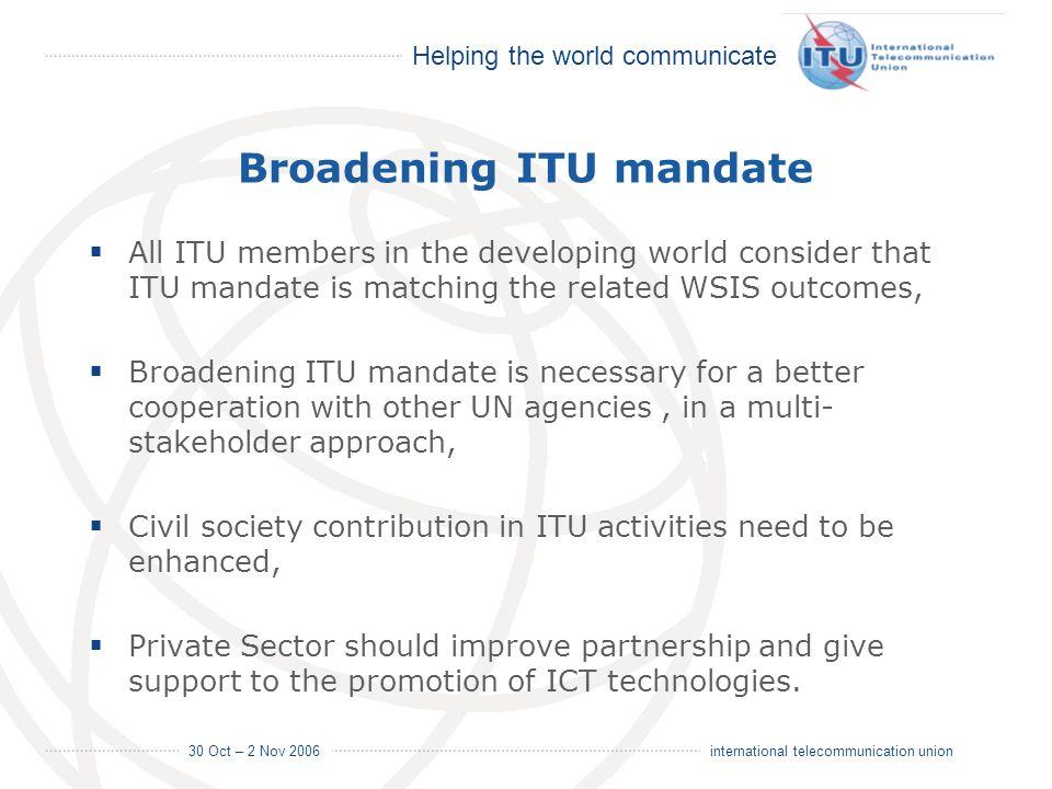 Broadening ITU mandate