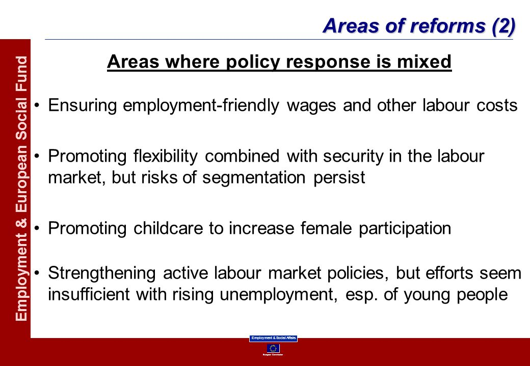 Areas where policy response is mixed