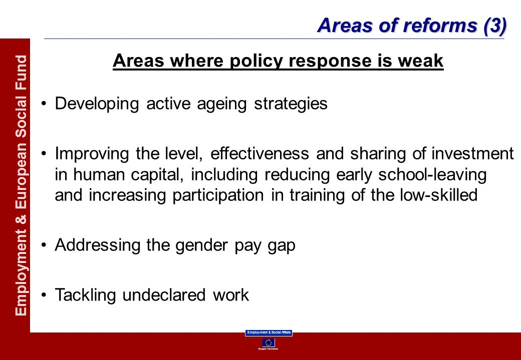 Areas where policy response is weak