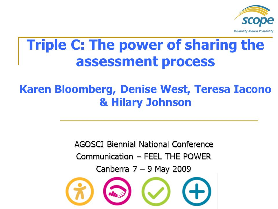 Triple C: The power of sharing the assessment process Karen Bloomberg, Denise West, Teresa Iacono & Hilary Johnson