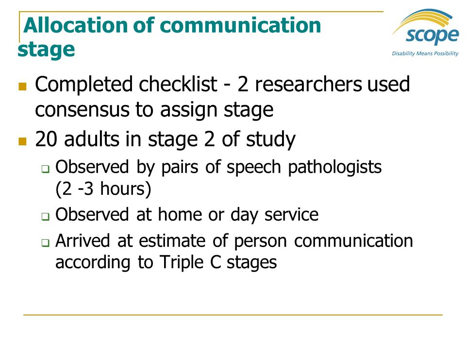 Allocation of communication stage