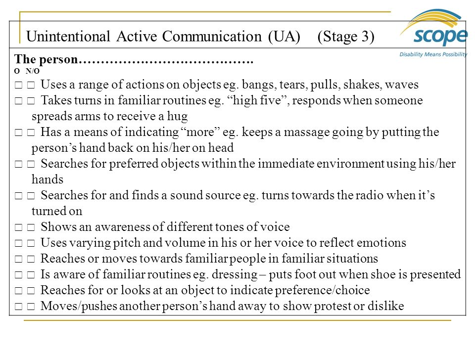 Unintentional Active Communication (UA) (Stage 3)