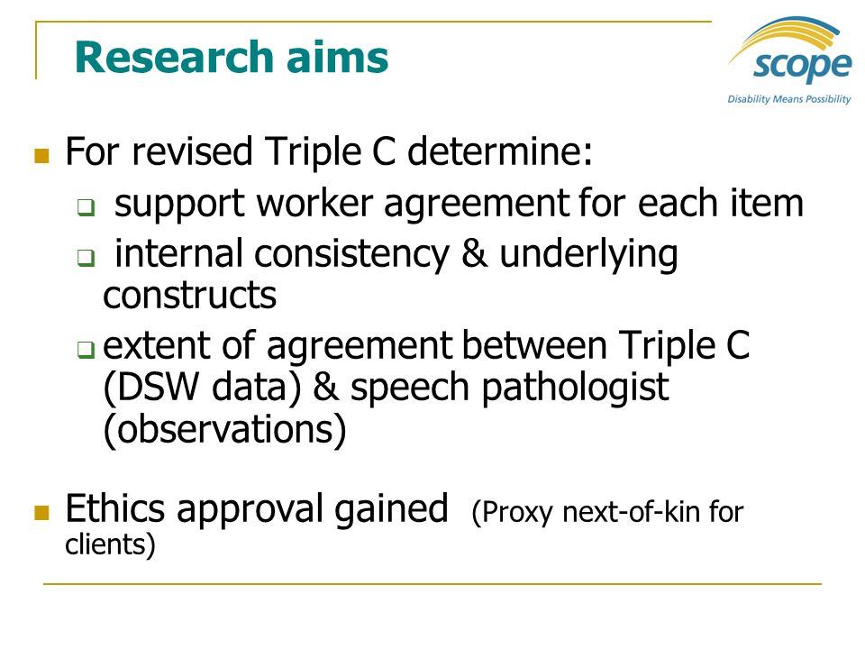 Research aims For revised Triple C determine: