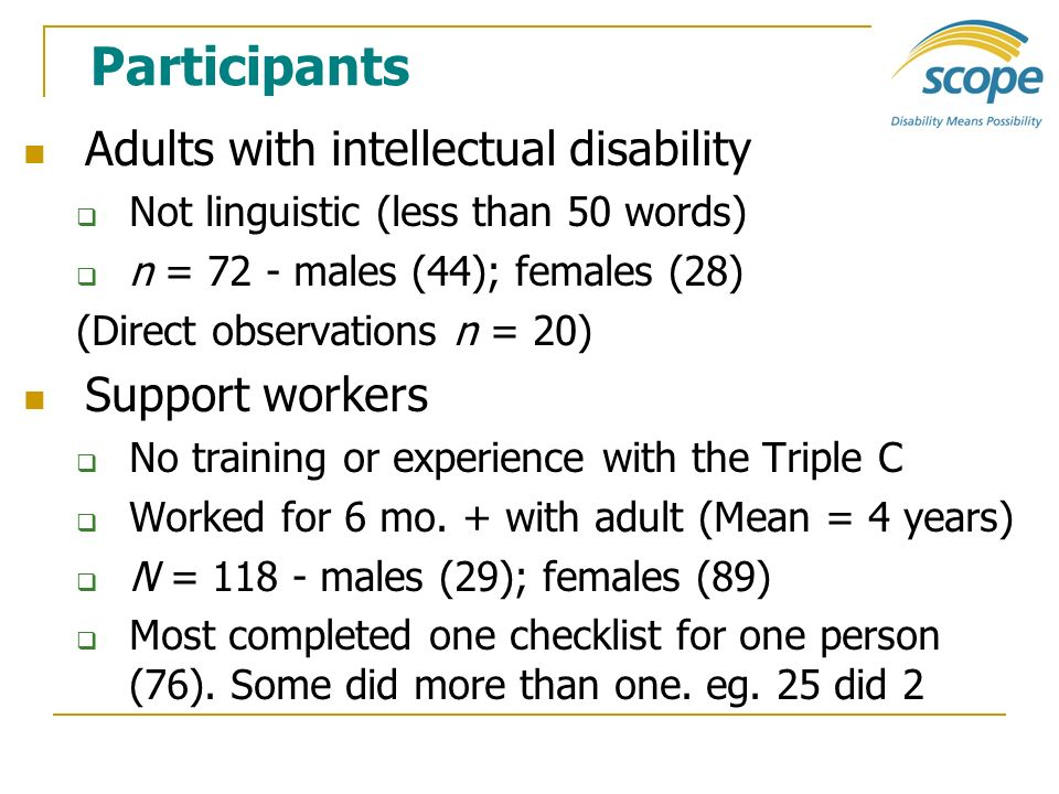 Participants Adults with intellectual disability Support workers