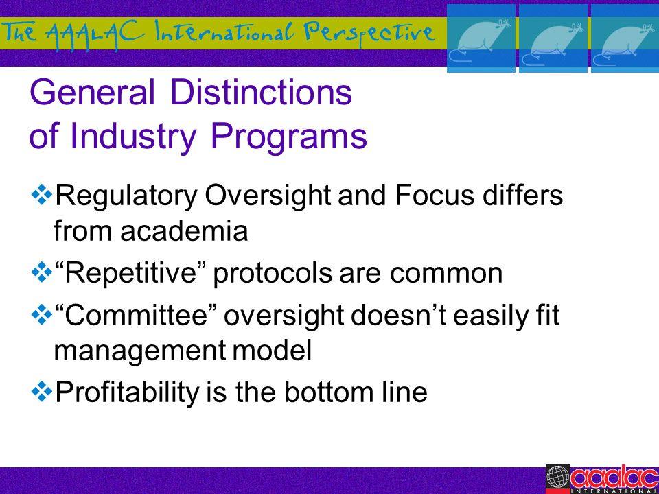 General Distinctions of Industry Programs