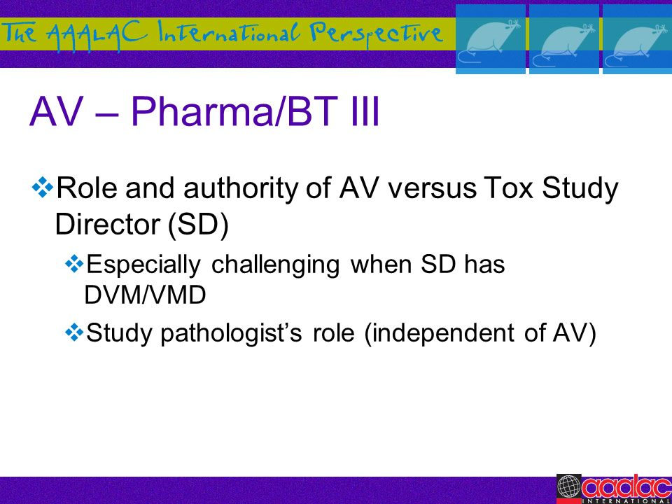 AV – Pharma/BT III Role and authority of AV versus Tox Study Director (SD) Especially challenging when SD has DVM/VMD.