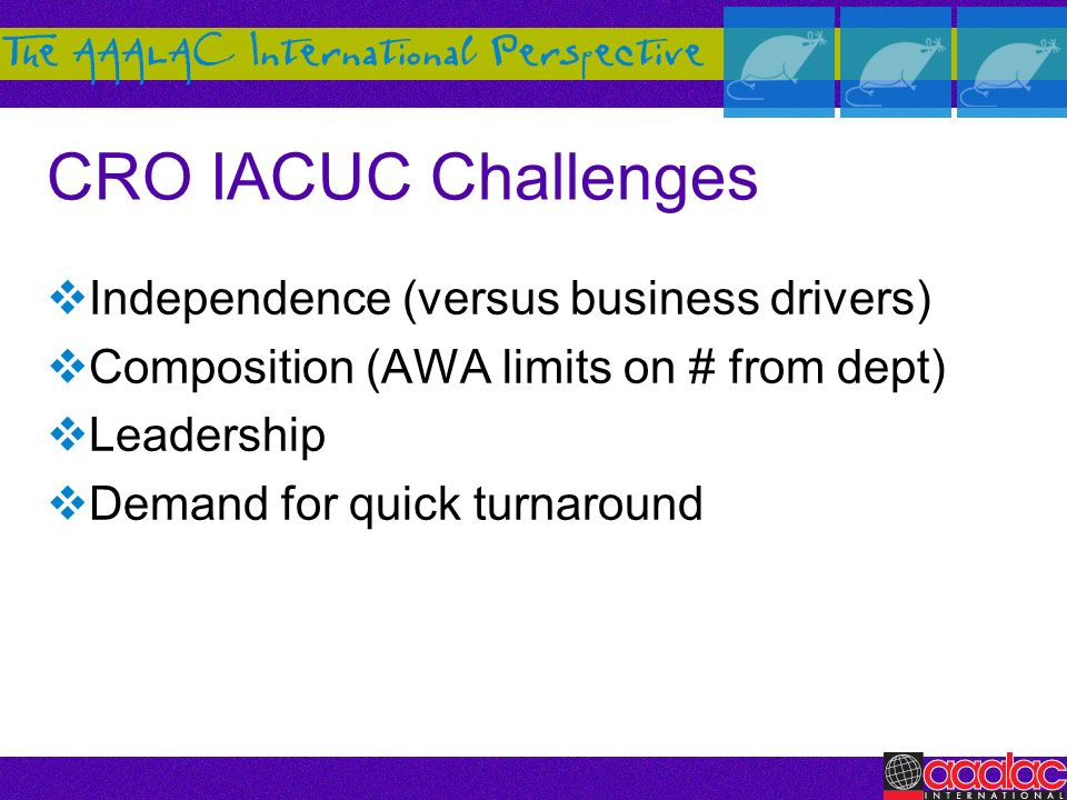 CRO IACUC Challenges Independence (versus business drivers)