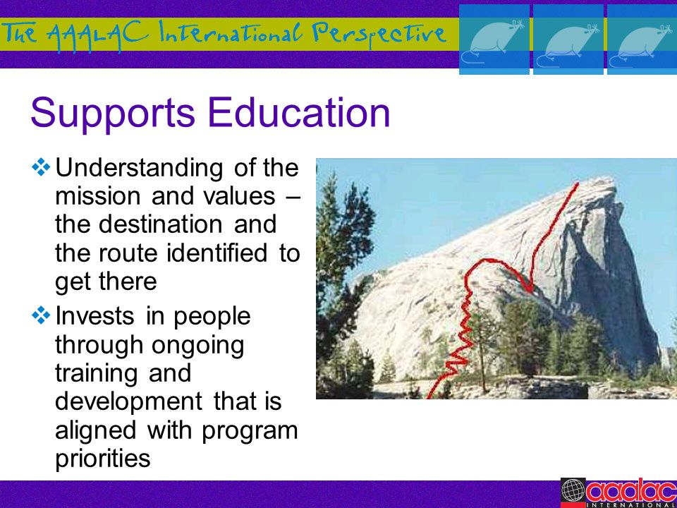 Supports Education Understanding of the mission and values – the destination and the route identified to get there.
