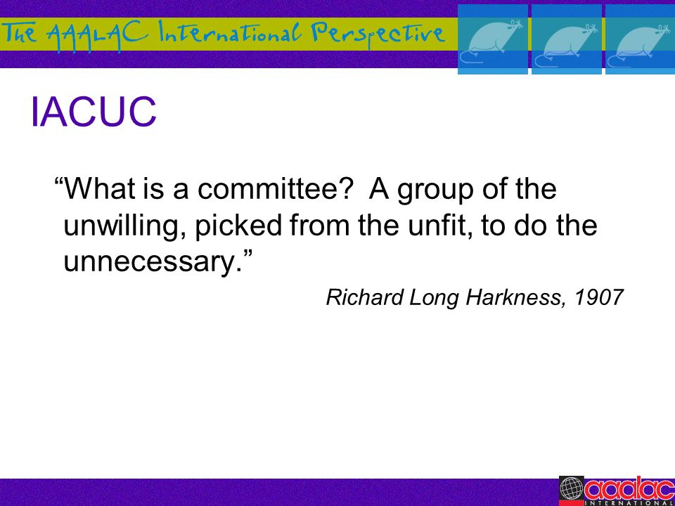 IACUC What is a committee A group of the unwilling, picked from the unfit, to do the unnecessary.