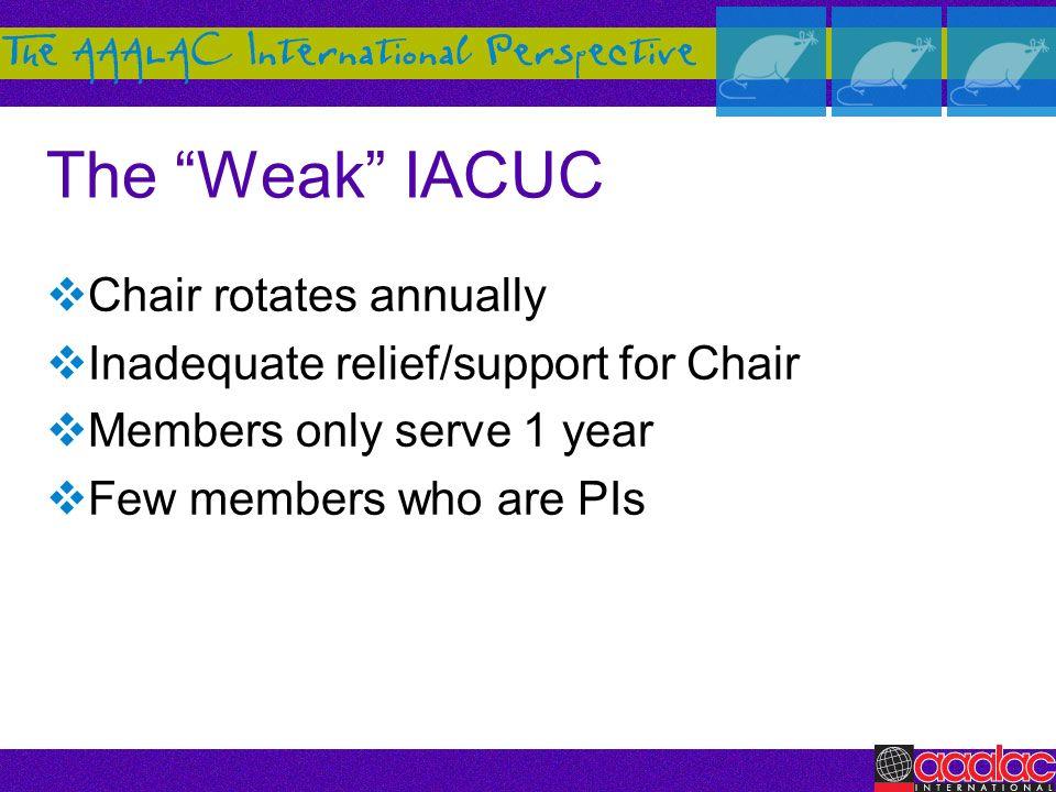 The Weak IACUC Chair rotates annually