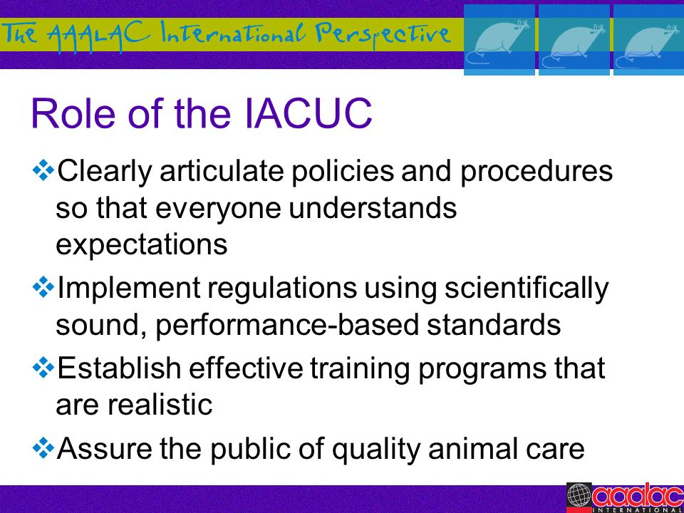 Role of the IACUC Clearly articulate policies and procedures so that everyone understands expectations.