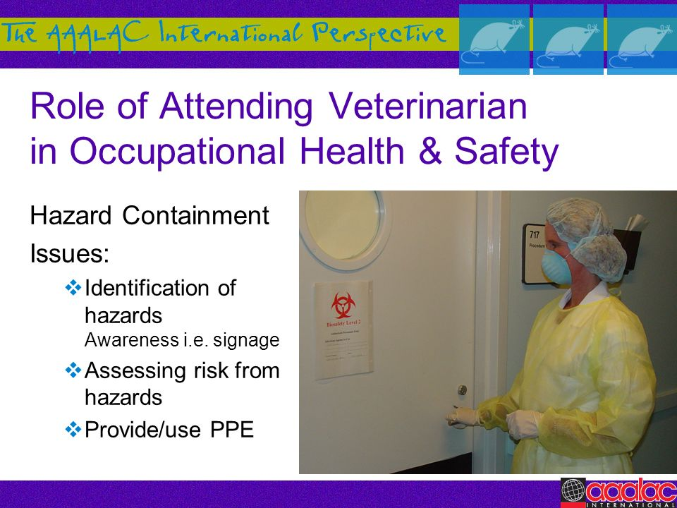 Role of Attending Veterinarian in Occupational Health & Safety