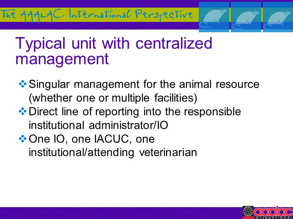 Typical unit with centralized management