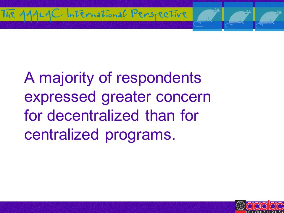 A majority of respondents expressed greater concern for decentralized than for centralized programs.