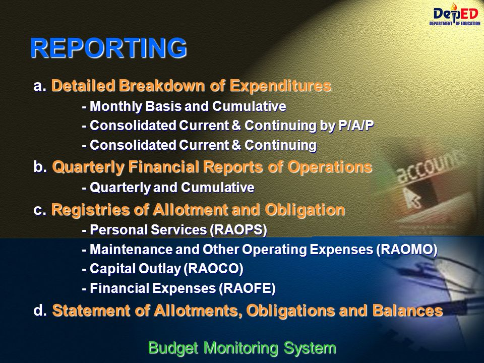 Financial Monitoring System : Budget monitoring system ppt download