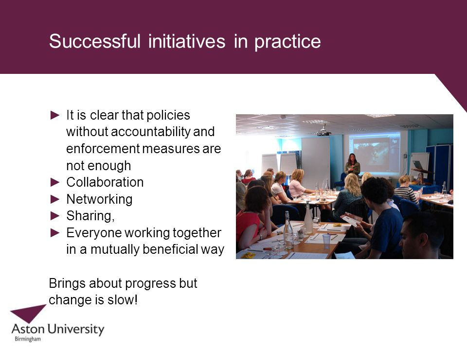 Successful initiatives in practice