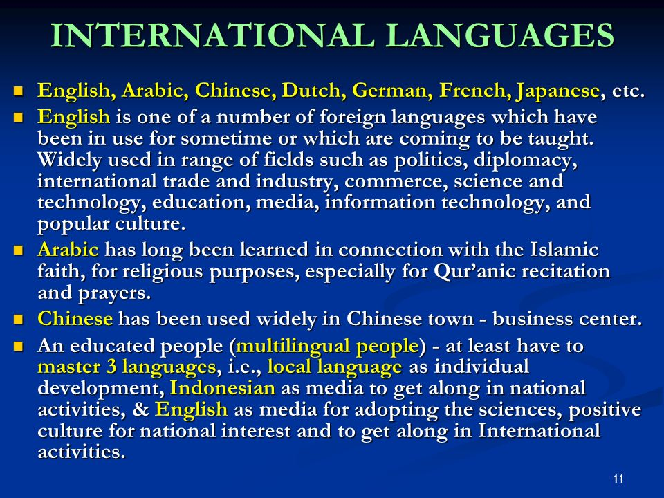 INTERNATIONAL LANGUAGES