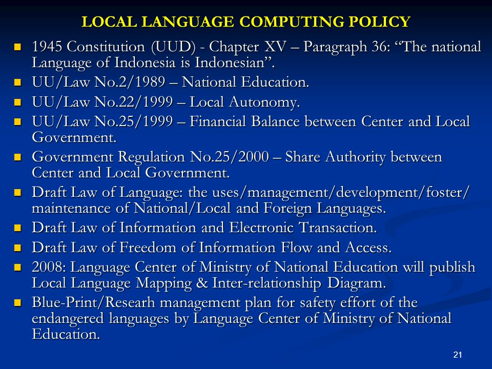 LOCAL LANGUAGE COMPUTING POLICY