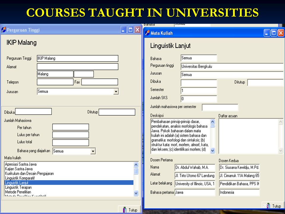 COURSES TAUGHT IN UNIVERSITIES