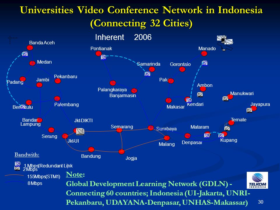 Universities Video Conference Network in Indonesia (Connecting 32 Cities)