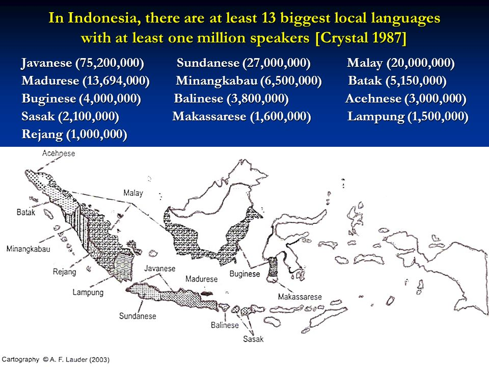 In Indonesia, there are at least 13 biggest local languages with at least one million speakers [Crystal 1987]