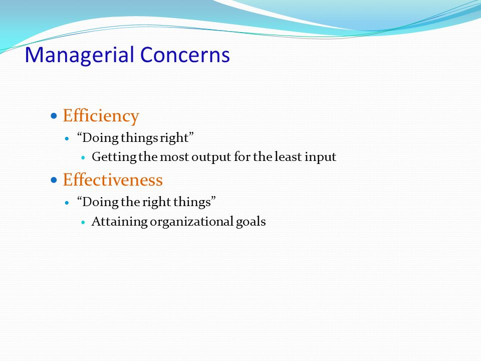 Managerial Concerns Efficiency Effectiveness Doing things right