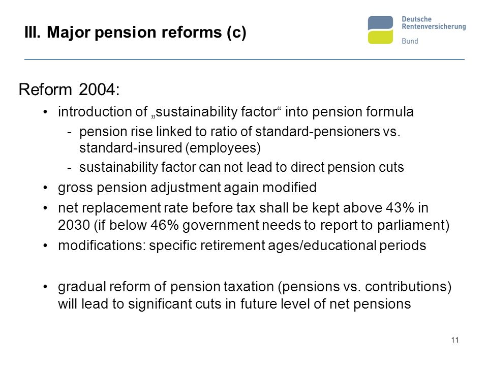 III. Major pension reforms (c)