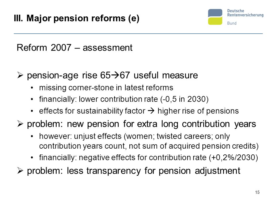 III. Major pension reforms (e)