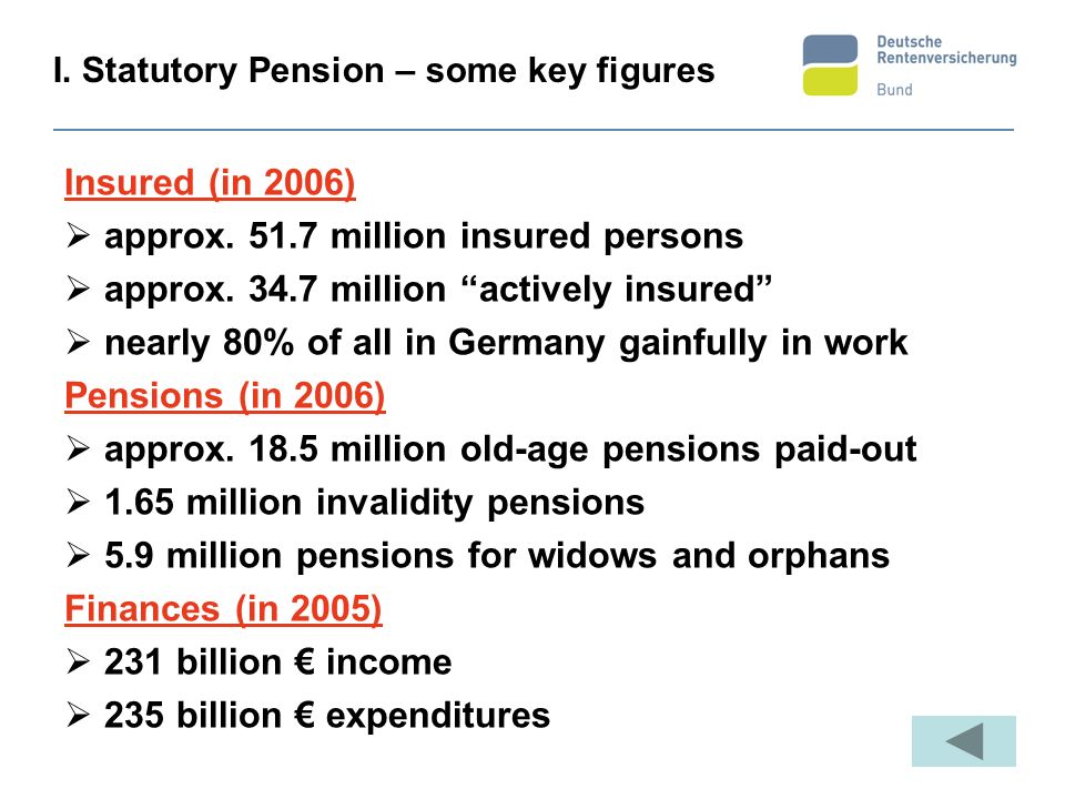 I. Statutory Pension – some key figures