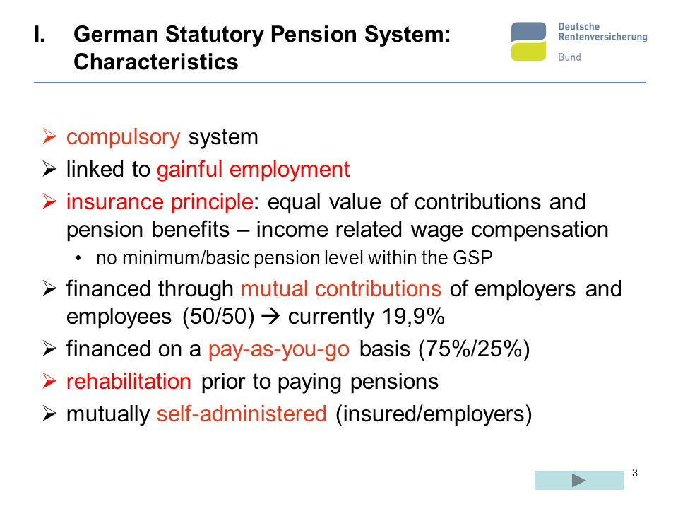 German Statutory Pension System: Characteristics