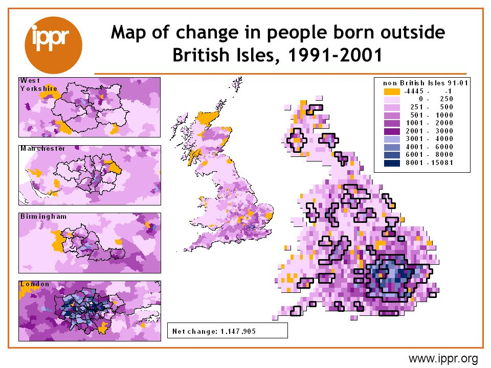 Map of change in people born outside British Isles, 1991-2001