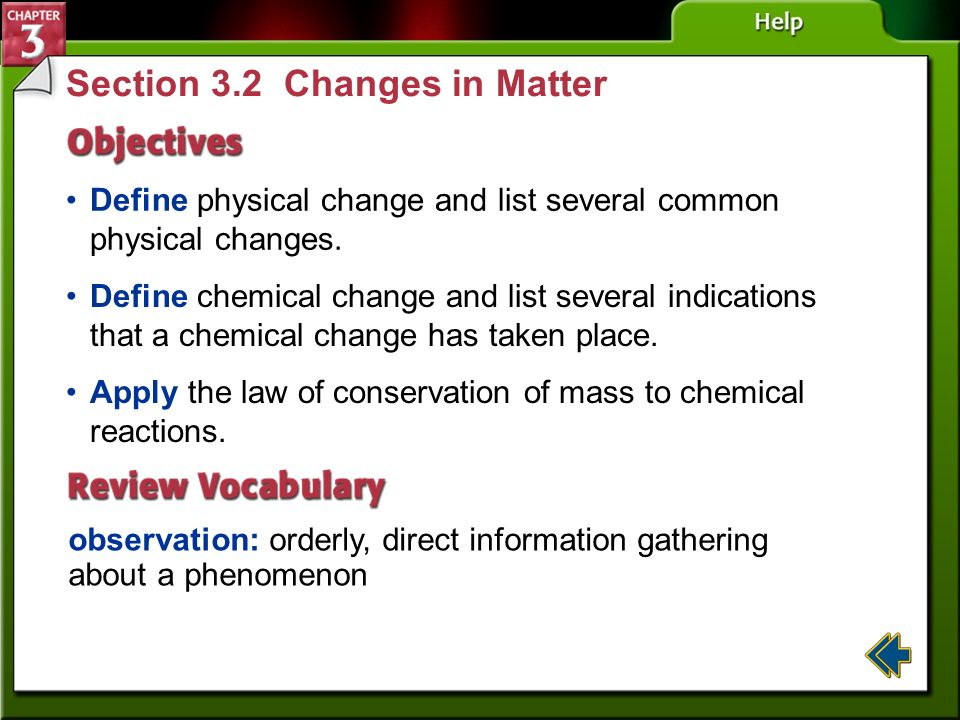 Section 3.2 Changes in Matter