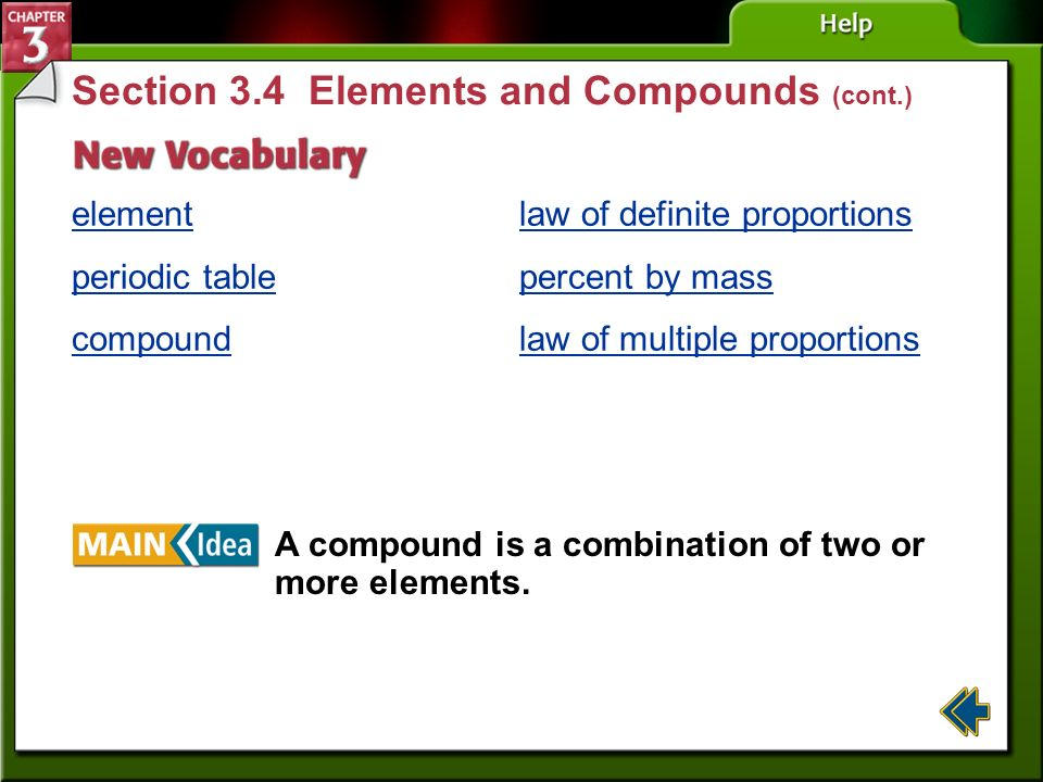 Section 3.4 Elements and Compounds (cont.)