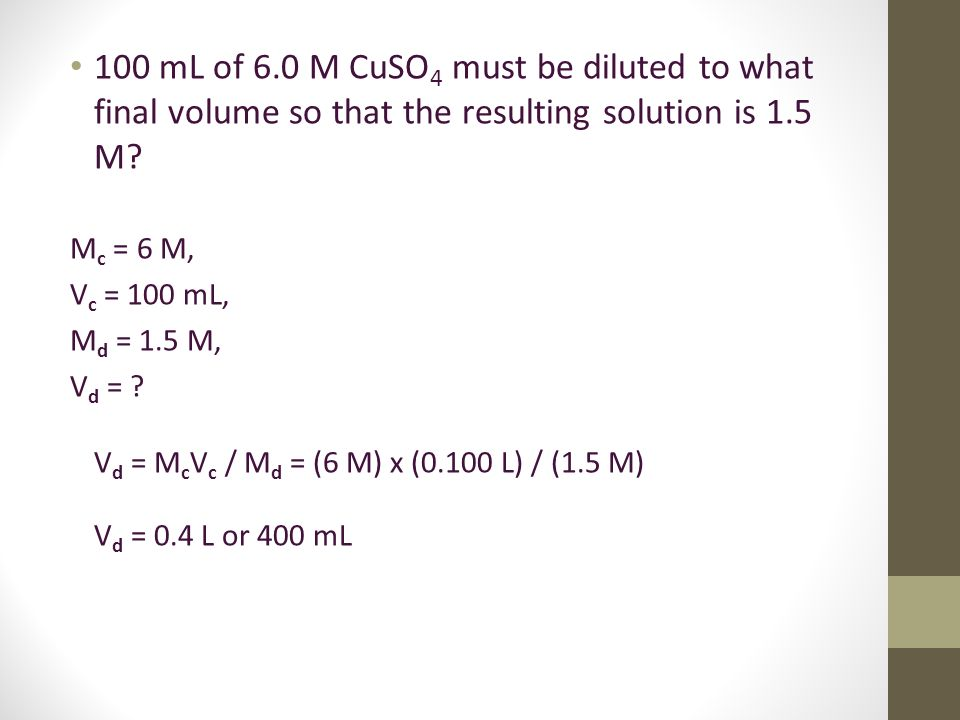 how to find final concentration of diluted solution