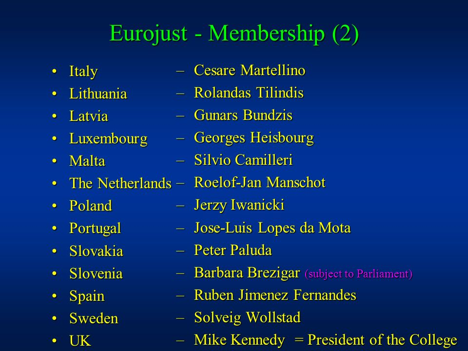 Eurojust - Membership (2)