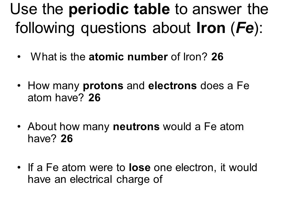Phys sci week 6 basic chemistry and electricity ppt video online use the periodic table to answer the following questions about iron fe urtaz Gallery