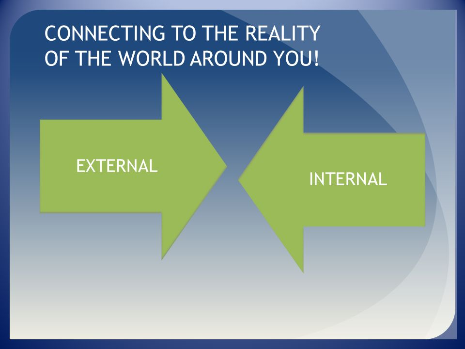 CONNECTING TO THE REALITY OF THE WORLD AROUND YOU!