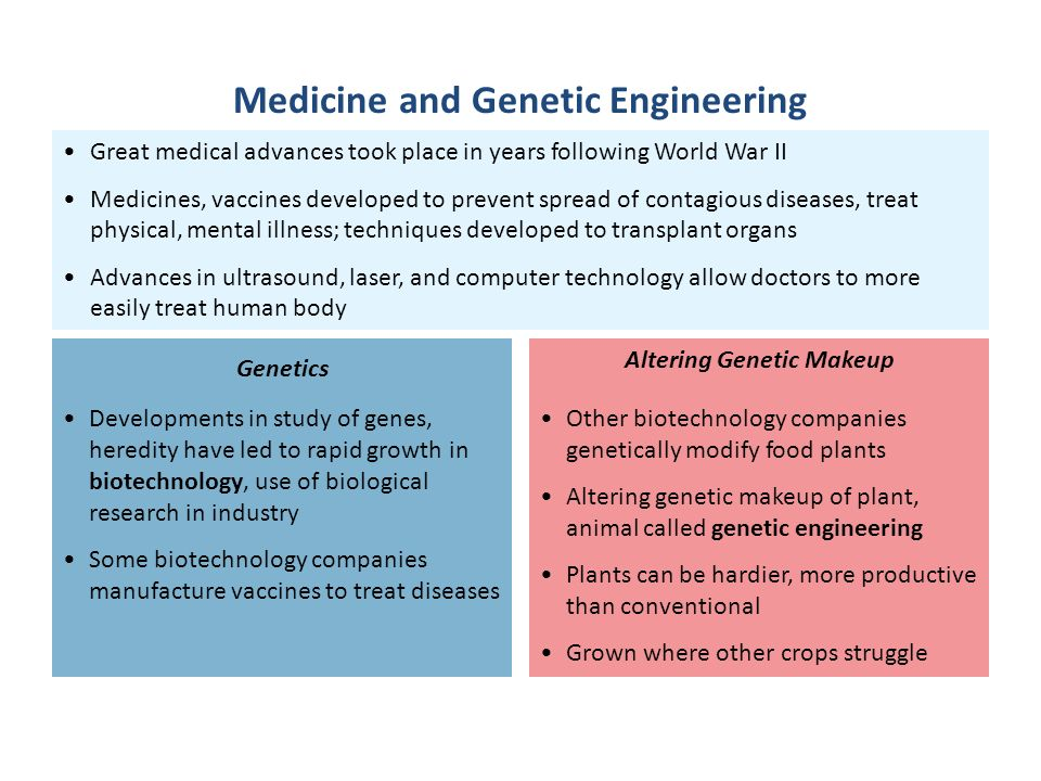 an analysis of the medical advancement in the genetic engineering No matter what you call it, genetic engineering is changing the future of health, medicine and crime scene analysis many new developments in science and medicine are the result of new and ongoing work with recombinant dna technology dna fingerprinting uses the techniques of genetic engineering new.