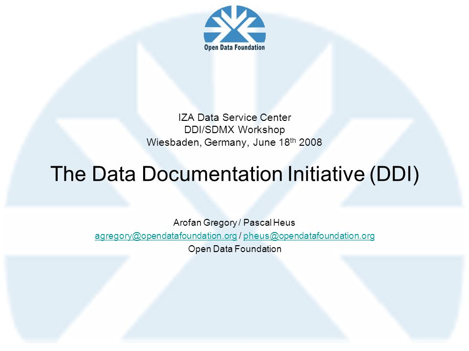 IZA Data Service Center DDI/SDMX Workshop Wiesbaden, Germany, June 18th 2008 The Data Documentation Initiative (DDI)