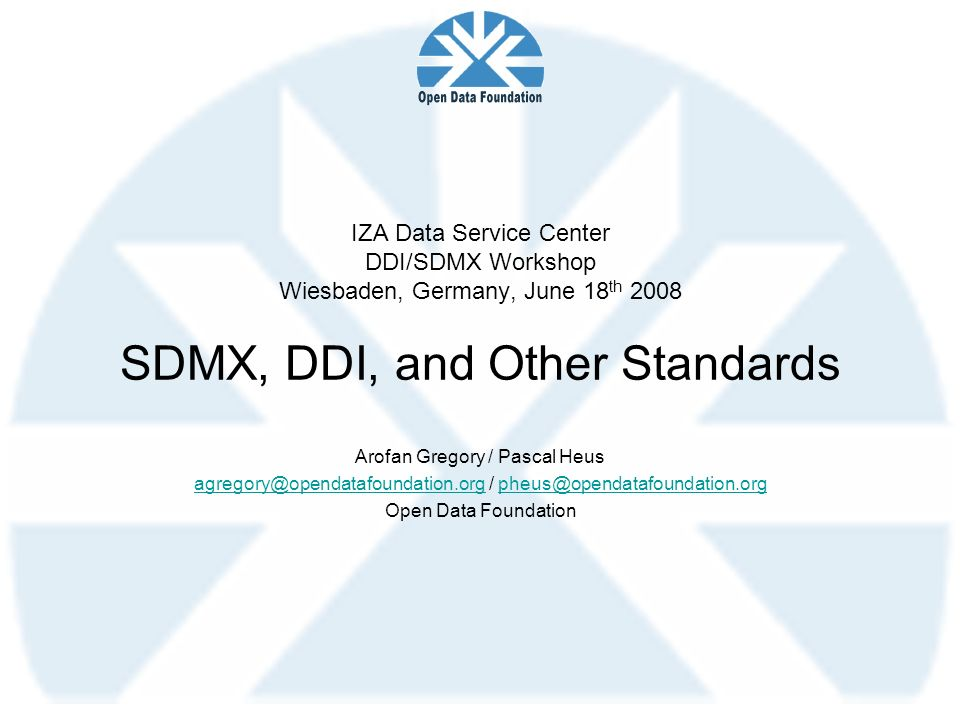 IZA Data Service Center DDI/SDMX Workshop Wiesbaden, Germany, June 18th 2008 SDMX, DDI, and Other Standards
