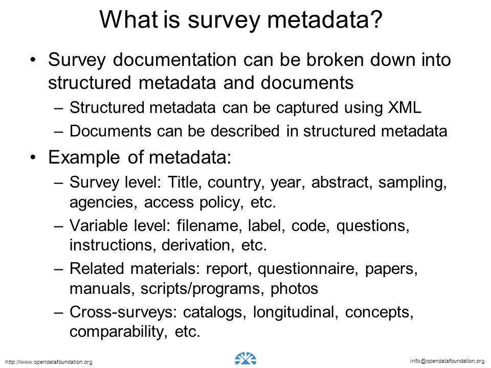 What is survey metadata