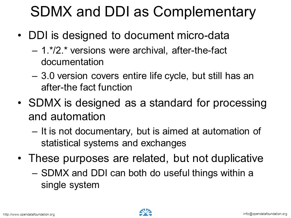 SDMX and DDI as Complementary