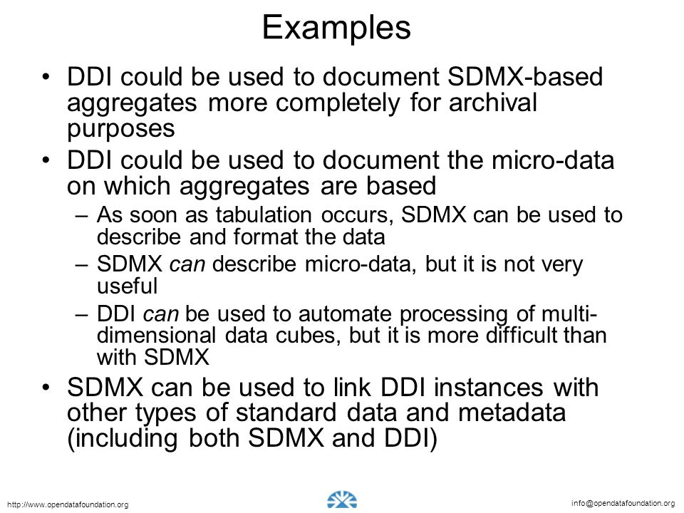 Examples DDI could be used to document SDMX-based aggregates more completely for archival purposes.