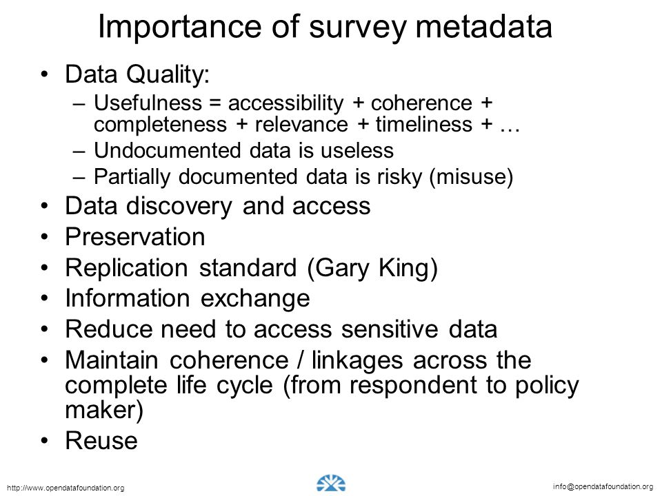 Importance of survey metadata