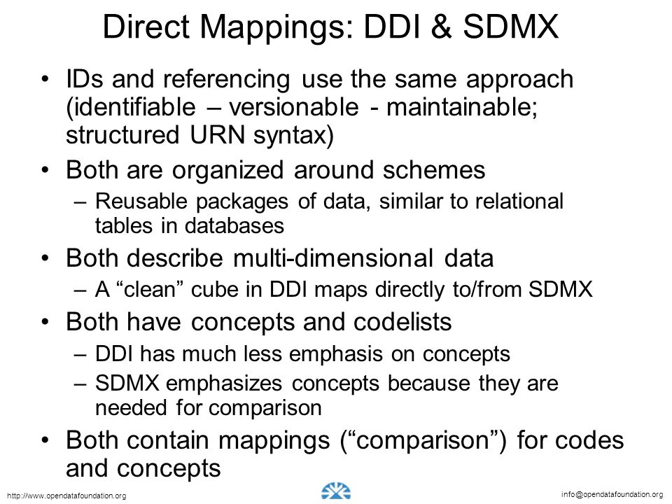 Direct Mappings: DDI & SDMX