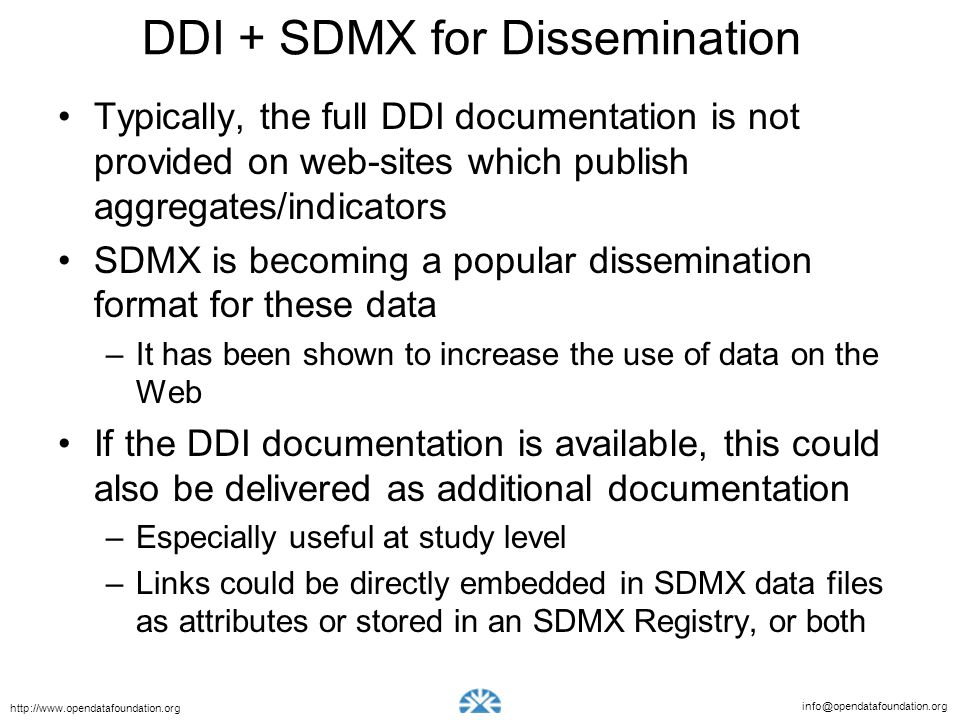 DDI + SDMX for Dissemination