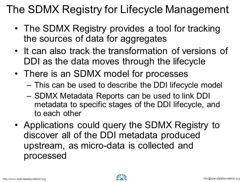 The SDMX Registry for Lifecycle Management