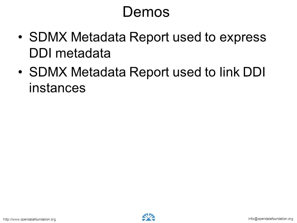 Demos SDMX Metadata Report used to express DDI metadata